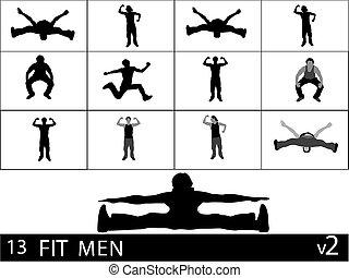 exercising men on isolated background