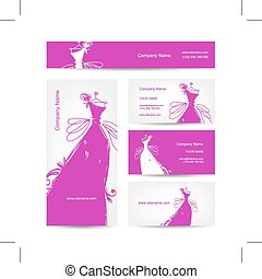 Business cards with wedding dress for your design