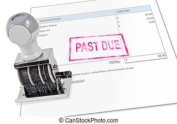 Past Due Stamp - Isolated white background past due rubber...