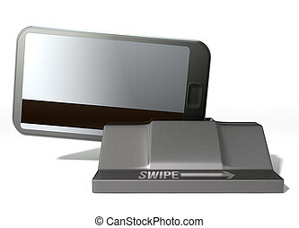Cell Phone Credit Card In Payment Slot - A credit card with...