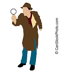 man posing with magnifier