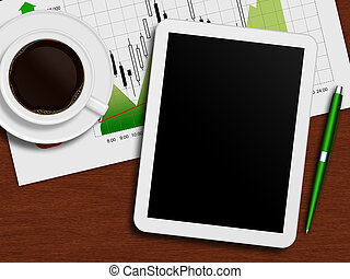 tablet with stock chart, cup of coffee and pen lying on desk