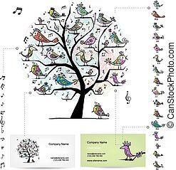 Infographic tree with funny birds. Easy editable for business cards