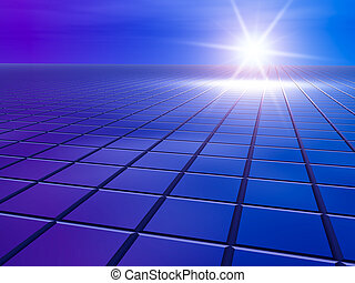 Business Future Grid - An abstract business blue background...