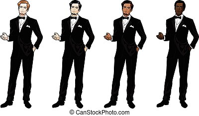Man in black tuxedo and bow tie Caucasian Asian Indian...