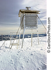 Winter weather station on mountain