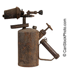 Old blowtorch - Old rusty blowtorch isolated on white...