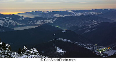 Evening lights from the mountains