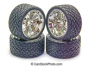 Sport tyres - Four street tyres for a radio controlled car