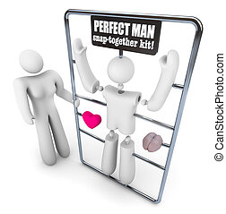 Build the Perfect Man Model Kit - A woman holds a model kit...
