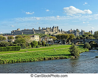 Carcassonne fortified town , France - HDR of Carcassonne...