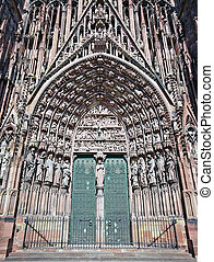 Strasbourg cathedral entrance in France, architecture...