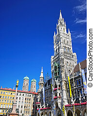 Munich - Square of medieval city (Marienplatz) with the...