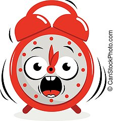 Stressed ringing alarm clock - A ringing cartoon alarm clock...