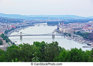 Aerial view of Budapest from Gellert hill, Danube river and...