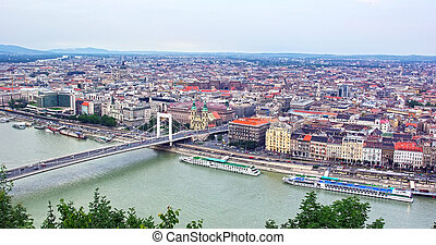 Budapest up view - Budapest with Danube river from Gellert...