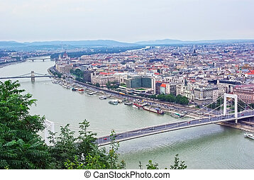 Budapest cityscape - Aerial view of Budapest from Gellert...