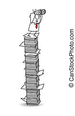 Point of view on a paper stack - Joe is with binoculars on a...