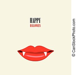 Happy Halloween design background with Vampire mouth. Vector ill