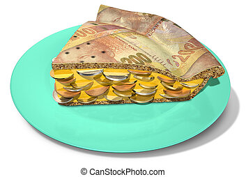 Slice Of Rand Money Pie - A concept of a sliced section of a...