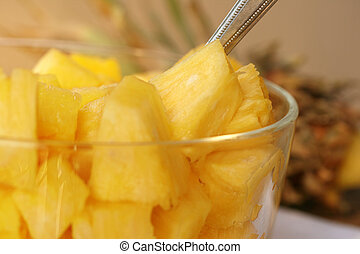 Fresh Pineapple Chunks - fresh pineapple chunks in bowl with...