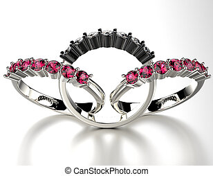 Rings with ruby gemstone. Jewelry background - Engagement...