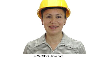 Woman Hardhat OK Signal Isolated - Woman isolated on a white...