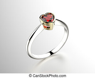 Ring with Garnet heart shape Jewelry background - Engagement...