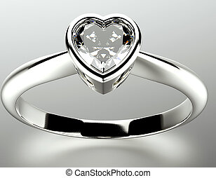 Ring with Garnet heart shape Jewelry background