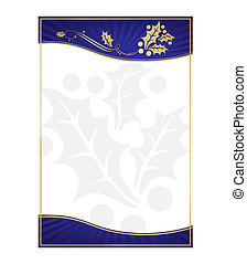 Exotic Blue Holly Adorned Gift Card or Label with Room For...