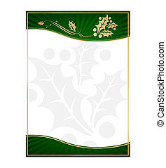 Exotic Green Holly Adorned Gift Card or Label with Room For...