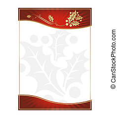 Exotic Green Holly Adorned Gift Card or Label