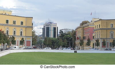 Colorful buildings in city center - TIRANA, ALBANIA -...