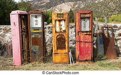 Old rusting gas pumps found in an antique store in New...