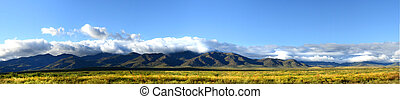 Panoramic view of the mountains of northern New Mexico -...
