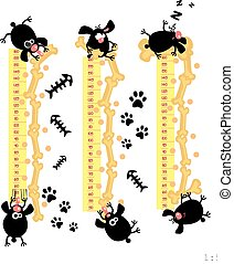 funny dogs - Baby height measure with funny dogs scale 1:5