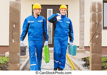 group of builders with toolboxes - business, building,...