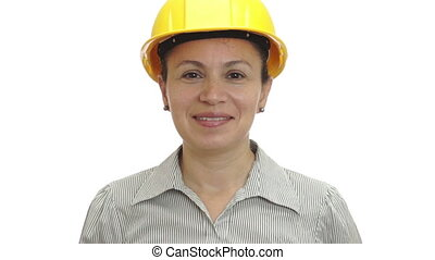 Woman in Hardhat Thumb Up Isolated