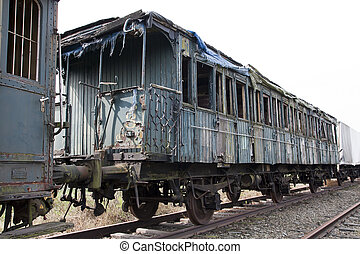 Abandoned train on railway