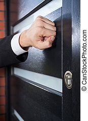 Salesman knocking on the door - Door to door salesman...