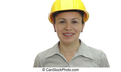 Woman in Hardhat Sticks Out Tongue - Woman isolated on a...