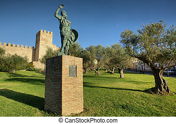 Statue of Ibn Marwan, Founder of Badajoz, Spain - Bronze...