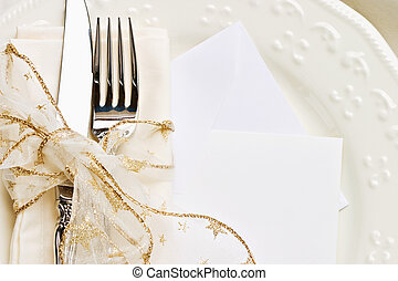 Holiday Table Setting - Holiday place setting with napkin,...