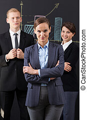 Portrait of business team working in the corporation