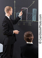 Manager analyzing diaphragm - Manager standing at the board...