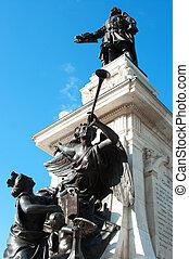 Samuel de Champlain statue in Old Quebec, Quebec, Canada