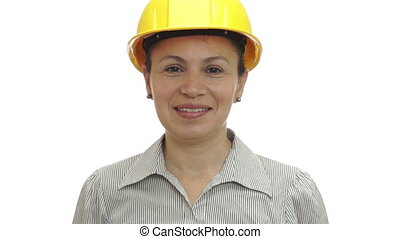 Woman Hardhat Gives Two Thumbs Up - Woman isolated on a...