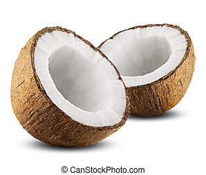 Coconut with half isolated on white Background Clipping Path...