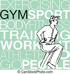 Illustration of Woman lifting dumbbells at the gym