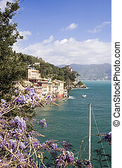 Portofino coast in italy - Waterfront view of the edge of...